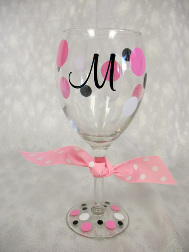 Personalized Initial Wine Glass with Polka Dot Bow