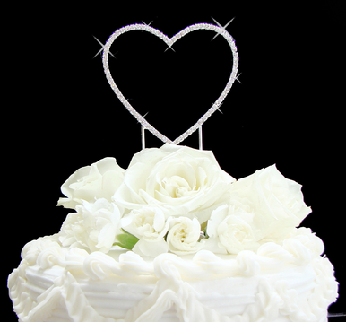 Crystal Single Heart Cake Topper