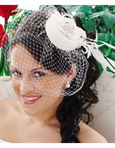 Petite Wedding Hat - Bridal Hat with Feathers and Crystals