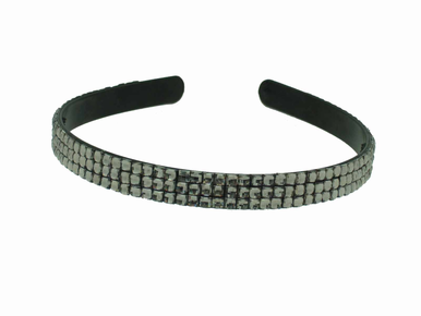 Crystal Headband with Triple Row Gray Rhinestones