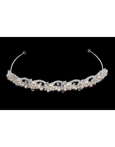 SIlver and Ivory Pearl Wave Bridal Tiara TR1305