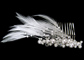 Pearl and Feather Bridal Comb