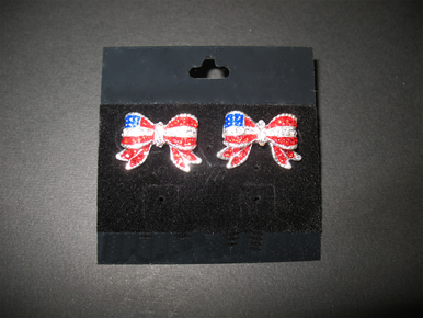 Fourth of July Earrings - American Flag Crystal Earrings