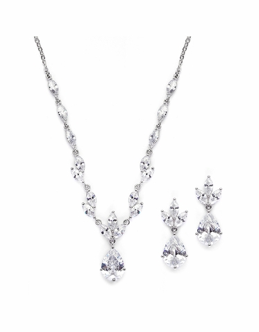Exquisite Pear and Marquise Cubic Zirconia Bridal Necklace Set