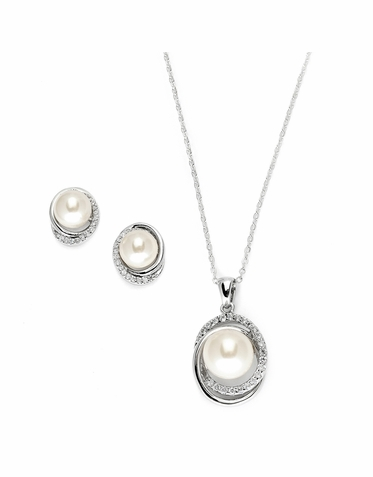 Opulent Pearl And Zirconia Necklace Set