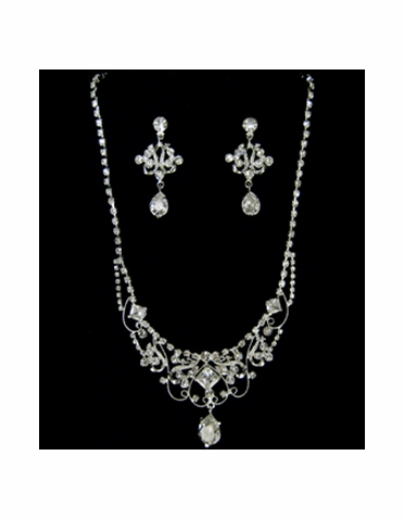 Silver and Rhinestone Necklace and Earring Jewelry Set-1019