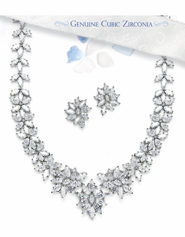 Cubic Zirconia Jewelry Set - Necklace and Earrings