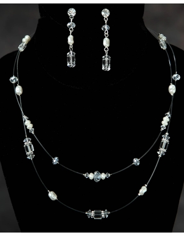 Double Strand Necklace with Freshwater Pearls & Crystals 2923EN