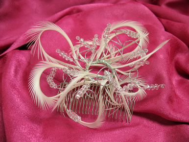 Crystal and Feather Hair Accessory for Weddings