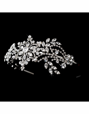 Silver and Crystal Headband - 9998