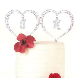 Crystal Vine Monogram Heart Cake Topper