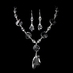 Silver Crystal Jewelry Set NE8317