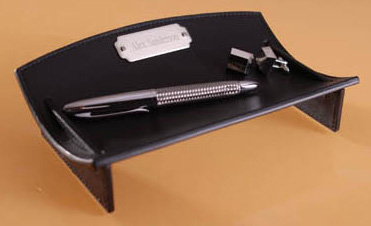 Curved Leather Desk Caddie