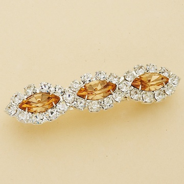 Clear Marquise Crystal Silver Hair Barrette