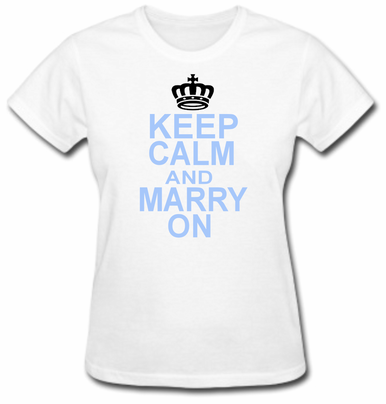 Something Blue Keep Calm and Marry On Bride T-Shirt