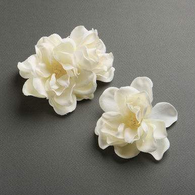 Ivory Silk Gardenia Flower Trio Hair Clips