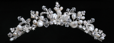 En Vogue Bridal Tiara Comb with Crystals & Pearls TC770