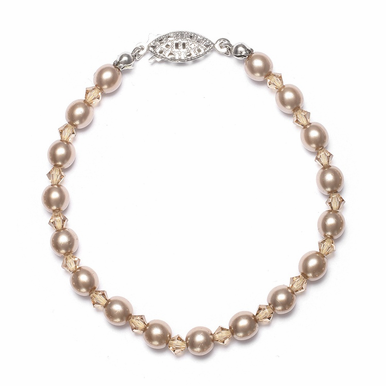 Hand Crafted Pearl And Crystal Bracelet In 26 Custom Colors