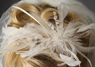Ivory Feather Headband with Crystal Sprays 2904