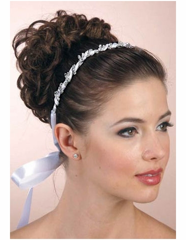 Silver Crystal Headband with Ribbon