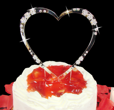 Large Crystal Flower Heart Cake Topper