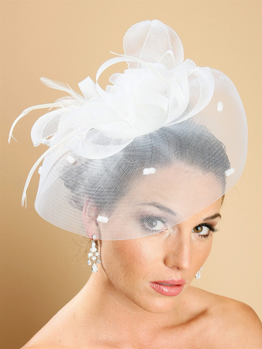 Alluring Vintage Feather And Ribbon Statement Hairpiece In White Or Black