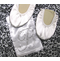 Foldable Ballet Flats in White or Black Satin with Rhinestone Initial Gift Bag