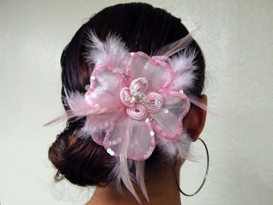 CLEARANCE: Pink Marabou Feather Hair Pin or Feather Clip