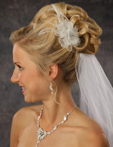 Organza Flower Hair Piece with Feathers and Beads 8042