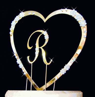Crystal Flower Heart and Initial Cake Topper