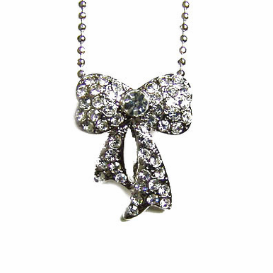 CLEARANCE: Silver Bow Flower Girl Necklace
