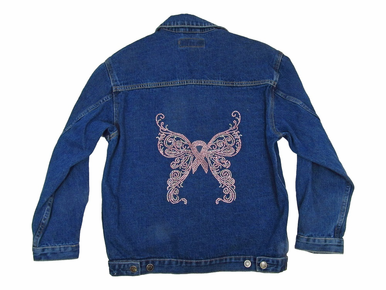 Rhinestone Pink Ribbon Denim Jacket