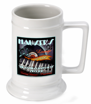 Personalized Piano Lounge Beer Stein
