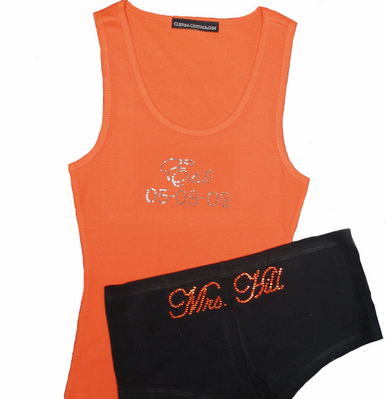 Personalized Custom Tank and Boyshort Set in Choice of Crystal Colors