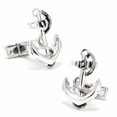 Polished Silver Anchor Designer Cufflinks