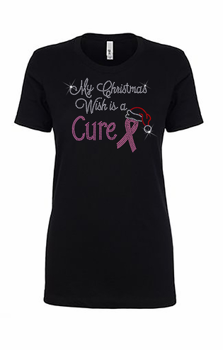 My Christmas Wish - Pink Ribbon Crystal Tee