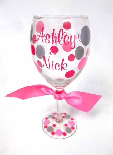 Wine Glass With Couple's Names, Date & Optional Polka Dots