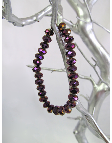 Iridescent Purple Crystal Bead Bracelet