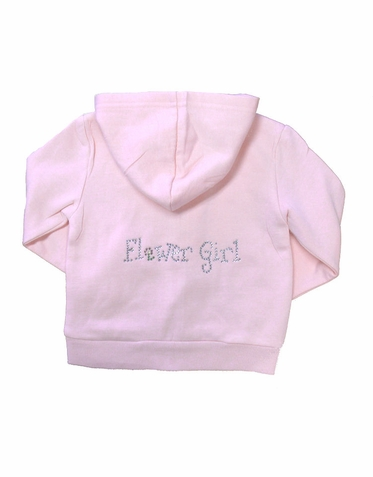 Personalized Rhinestone Flower Girl Hoodie with Her Initial