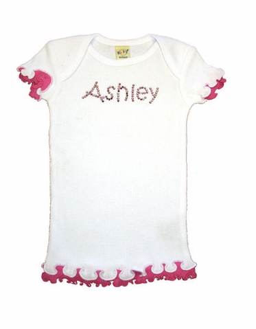 Ruffled Edge Girls' Personalized Rhinestone Tee