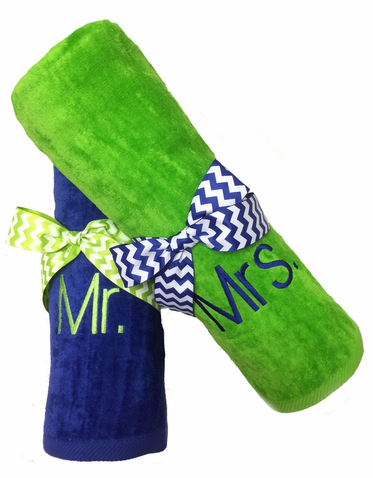 Custom Embroidered Mr and Mrs Beach Towel Set