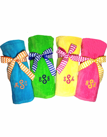 Personalized Beach Towels Tied with Bows