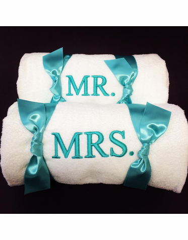 Mr and Mrs Beach Towel Set - Custom Personalization Available!