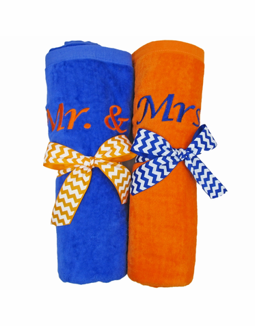Mr and Mrs Beach Towels Embroidered and Tied with Bows