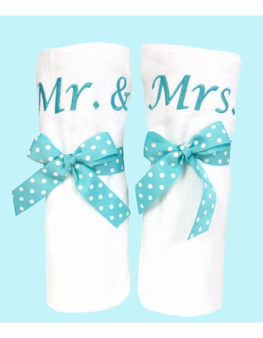Personalized Mr and Mrs Beach Towel Set - His and Hers Towels