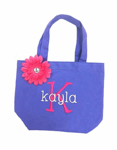 Girls Embroidered Tote Bag with Rhinestone Flower