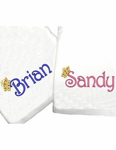 Embroidered His and Hers Bath or Beach Towels