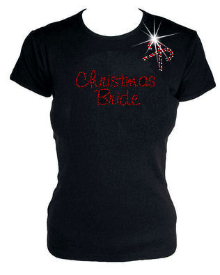 Christmas Bride Rhinestone T-Shirt or Tank Top with Optional Design