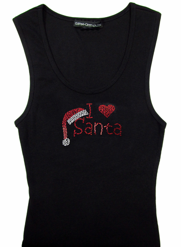 Custom I Heart Santa Rhinestone Tank or T-Shirt in Kristen Font
