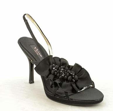 Granite Bridal Shoes with Satin Beaded Flower - Black 8.5
